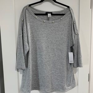 NAIF Soft Grey knit Sweater top with buttons 2X